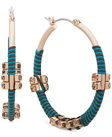 "lonna & lilly Medium Gold-Tone Threaded Hoop Earrings 1-1/4"""