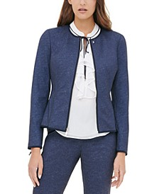 Zippered Collarless Jacket