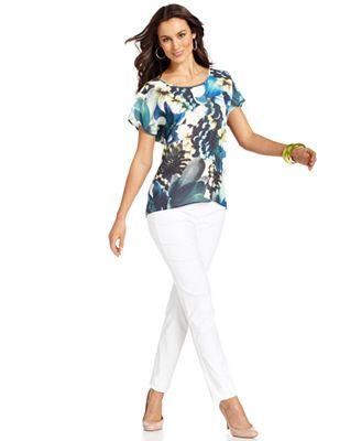 Alfani Short-Sleeve Floral-Print Top & Skinny Pants