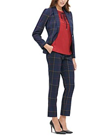 Plaid Blazer, Tie-Neck Top & Plaid Pants