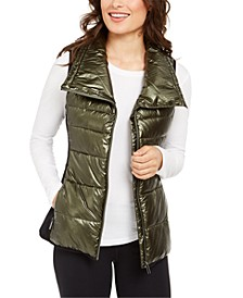 Metallic Funnel-Neck Puffer Vest