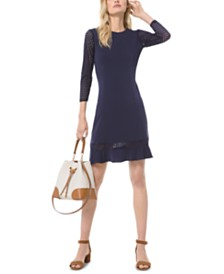 Michael Michael Kors Mesh-Sleeve Ruffle-Hem Dress, Regular & Petite