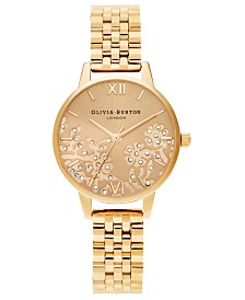 Olivia Burton Women's Gold-Tone Stainless Steel Bracelet Watch 30mm