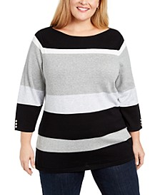 Plus Size Striped Ballet Neck Cotton Sweater, Created For Macy's