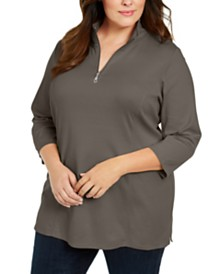 Karen Scott Plus Size Cotton Mock Neck Tunic, Created For Macy's