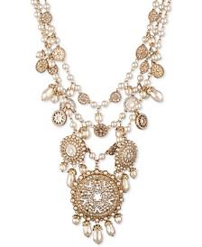 """Marchesa Gold-Tone Glass & Resin Multi-Lay Beaded 16"""" Statement Necklace"""