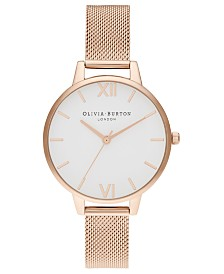 Olivia Burton Women's Rose Gold-Tone Stainless Steel Mesh Bracelet Watch 34mm