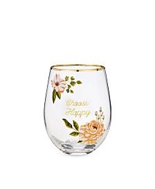 Twine Choose Happy Stemless Wine Glass
