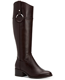 Alfani Women's Bexleyy Wide-Calf Riding Leather Boots, Created for Macy's