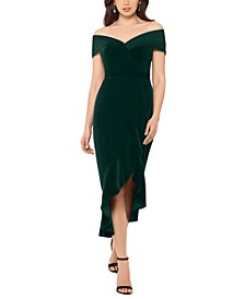 Off-The-Shoulder Velvet Midi Dress