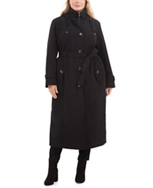 London Fog Plus Size Single-Breasted Hooded Maxi Raincoat