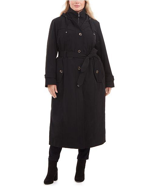 London Fog Plus Size Single-Breasted Hooded Maxi Raincoat