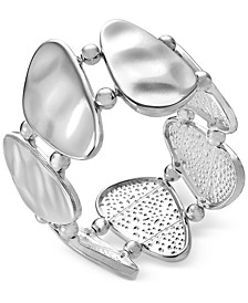 Silver-Tone Mixed Metal Sculptural Stretch Bracelet, Created for Macy's
