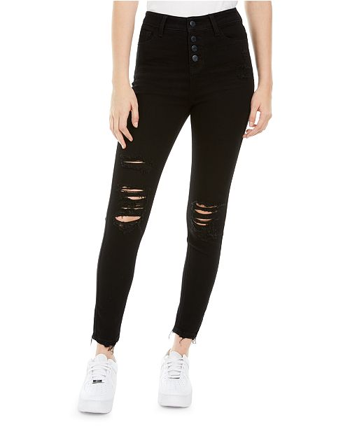 Vanilla Star Juniors' Ripped Button-Fly Jeans
