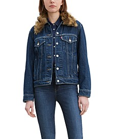 Women'sEx-Boyfriend Faux Fur Collar Trucker Jacket
