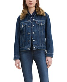 Levi's Ex-Boyfriend Faux Fur Collar Trucker Jacket