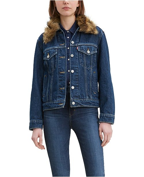 Levi's Women'sEx-Boyfriend Faux Fur Collar Trucker Jacket