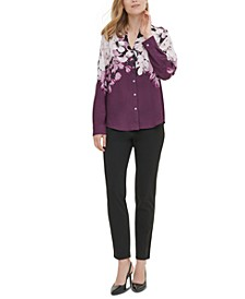 Printed Roll-Sleeve Blouse