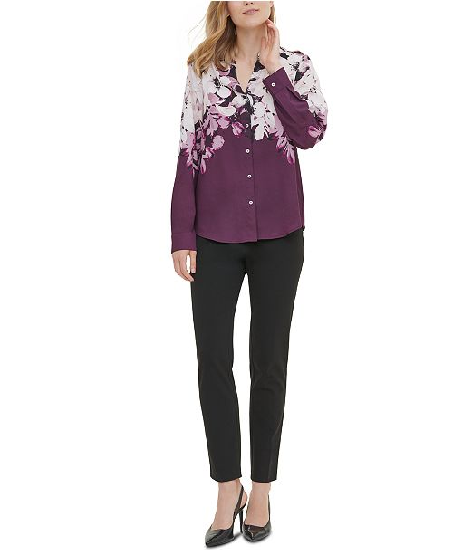 Calvin Klein Printed Roll-Sleeve Blouse