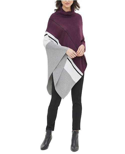 Calvin Klein Colorblock Cowl-Neck Poncho Sweater