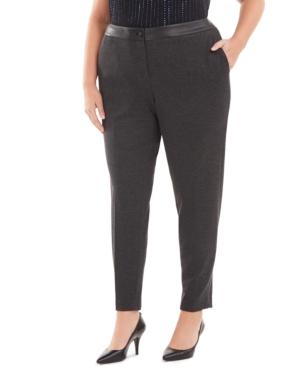 Calvin Klein Plus Faux-Leather-Waist Slim-Leg Pants