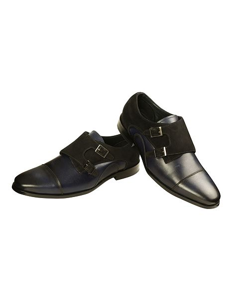 Ishaan Talreja New York Men's Leather and Suede Double Monk Strap