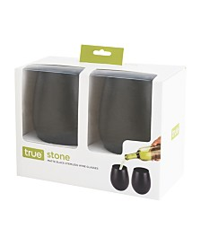 True Stone Powder Stemless Wine Glass Set of 2