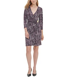 Printed 3/4-Sleeve Faux-Wrap Dress