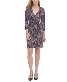 Calvin Klein Printed 3/4-Sleeve Faux-Wrap Dress