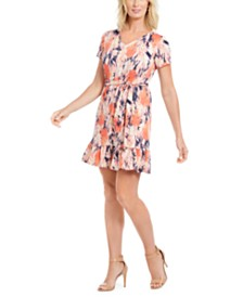 NY Collection Petite Short-Sleeve Flounce Hem Dress
