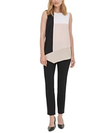 Calvin Klein Colorblocked Asymmetrical-Hem Top