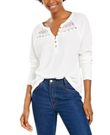 American Rag Juniors' Textured Lace-Trimmed Henley Top, Created For Macy's
