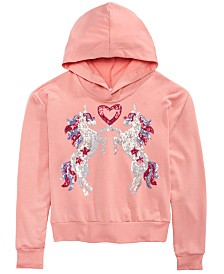 Beautees Big Girls Sequined Unicorn & Heart T-Shirt