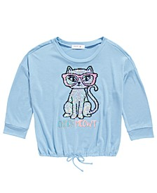 Big Girls Flip Sequin Cat T-Shirt