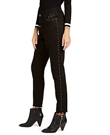 INC Curvy-Fit Studded Frayed-Hem Skinny Jeans, Created for Macy's