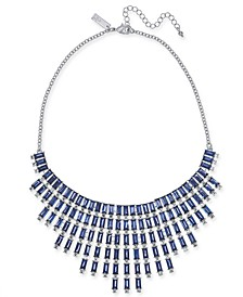 """INC Silver-Tone Crystal & Baguette-Stone Statement Necklace, 17"""" + 3"""" extender, Created For Macy's"""