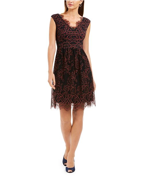 Adrianna Papell Eyelash Floral-Lace Dress