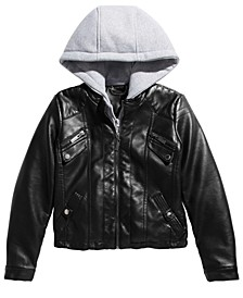 Big Girls Layered-Look Hoodie Moto Jacket