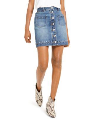 INC Studded Jean Skirt, Created For Macy's