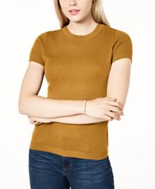 Maison Jules Short-Sleeve Crewneck Sweater, Created for Macy's