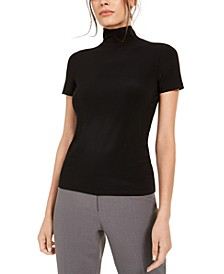 Short-Sleeve Mock-Neck Top