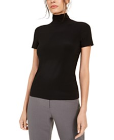 Anne Klein Short-Sleeve Mock-Neck Top