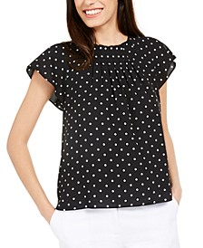 Polka-Dot Flutter-Sleeve Top