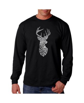 LA Pop Art Mens Word Art Hooded Sweatshirt Types of Deer