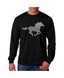 Men's Word Art Long Sleeve T-Shirt- Mustang