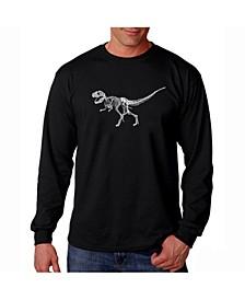 Men's Word Art Long Sleeve T-Shirt - Dinosaur T-Rex Skeleton