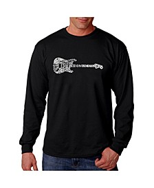 Men's Word Art Long Sleeve T-Shirt - Rock Guitar