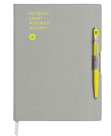 A5 Gray Notebook with Yellow 849 Ballpoint Pen