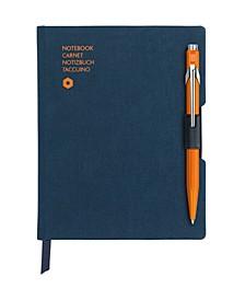 A6 Blue Notebook with Orange 849 Ballpoint Pen