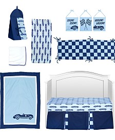 Pam Grace Creations Vintage Like Race cars 10 Piece Crib Bedding Set